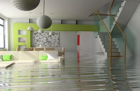 Home filled with water due to flood